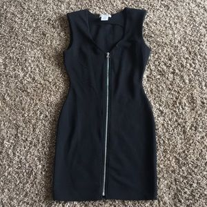 Black Zip-up Bodycon Dress